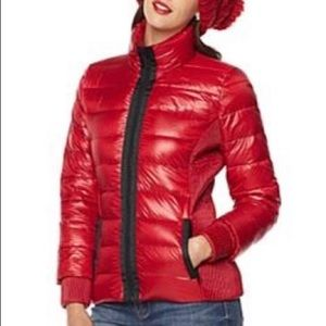 Shiny Red Puffer coat